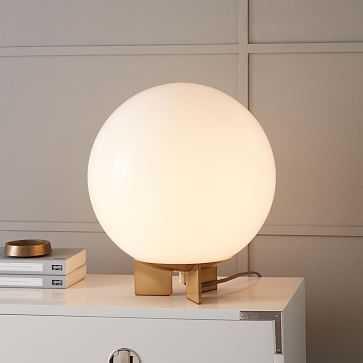 Globe Table Lamp, Medium, Milk Glass/Antique Brass - West Elm
