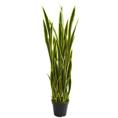 Nearly Natural Indoor 5 ft. Sansevieria Artificial Plant - Home Depot