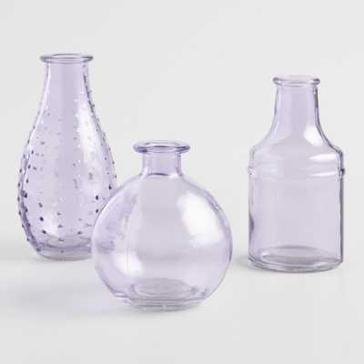 Purple Glass Bud Vases Set of 3 by World Market - World Market/Cost Plus