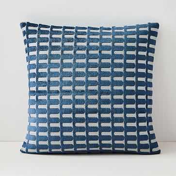 """Cut Velvet Archways Pillow Cover, Set of 2, 20""""x20"""", Regal Blue - West Elm"""