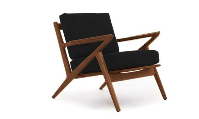 Black Soto Mid Century Modern Concave Arm Chair - Chance Charcoal - Walnut - Joybird