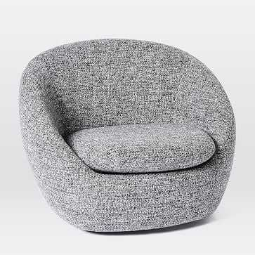 Cozy Swivel Chair, Chunky Melange, Charcoal, Individual - West Elm