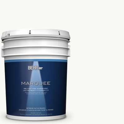 BEHR MARQUEE 5 gal. #PR-W15 Ultra Pure White Satin Enamel Interior Paint and Primer in One - Home Depot