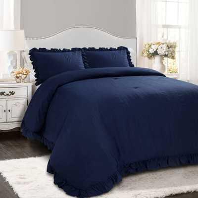 Lush Decor King 3pc Reyna Comforter & Sham Set Navy (Blue) - Target