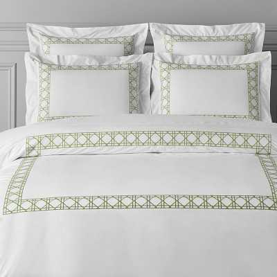 Cane Embroidery Bedding, Duvet, King, Green - Williams Sonoma