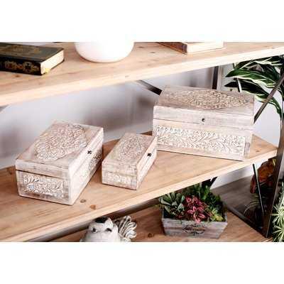 Micaela Carved Natural 3 Piece Decorative Box Set with Lid - Wayfair