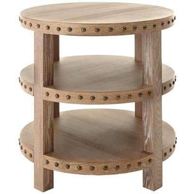 Nailhead Light Washed Oak End Table - Home Depot