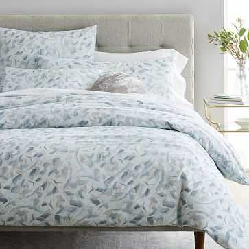 Organic Falling Petals Duvet Cover, Full/Queen, Blue Light - West Elm