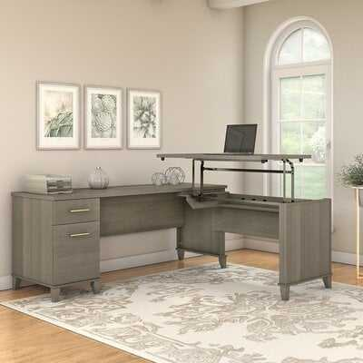 Whitestone 72W 3 Position Sit to Stand L Shaped Desk in Ash Gray - Wayfair