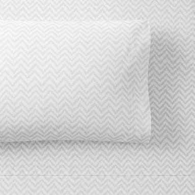Chevron Organic Sheet Set, Queen, Light Gray - Pottery Barn Teen