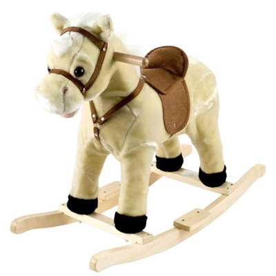 Plush Cream Rocking Lil Henry the Horse, Beige/Ivory - Home Depot