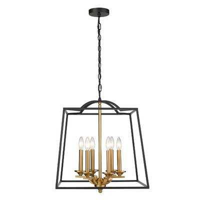 Giunta 6-Light Modern Farmhouse Chandelier, Foyer Lantern Pendant Light In Black And Gold Finish - Wayfair