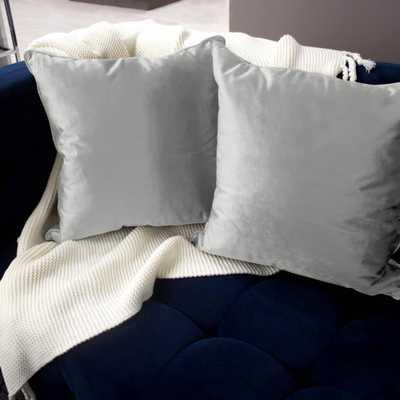 Lucas Velvet 2-Piece Decorative Pillow Set in Light Gray, Light Grey - Home Depot