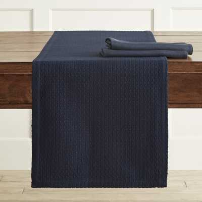 "Dobby Textured Woven Table Runner, 16"" X 90"", Dress Blue - Williams Sonoma"