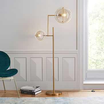 Jamie Harris Floor Lamp, Antique Brass/Champagne Glass - West Elm