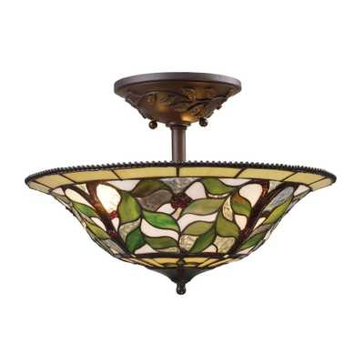 Titan Lighting Latham 3-Light Tiffany Bronze Ceiling Semi-Flush Mount Light - Home Depot