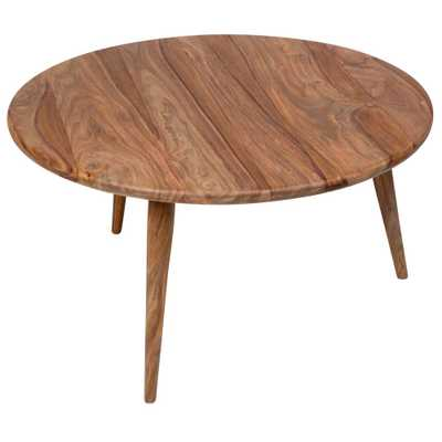 Porter Designs Urban Mid-Century Modern Sheesham Wood Round Coffee Table, Natural - Home Depot