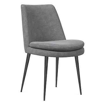 Finley Dining Chair, Low Back, Gunmetal Leg, Distressed Velvet, Metal, Gunmetal - West Elm