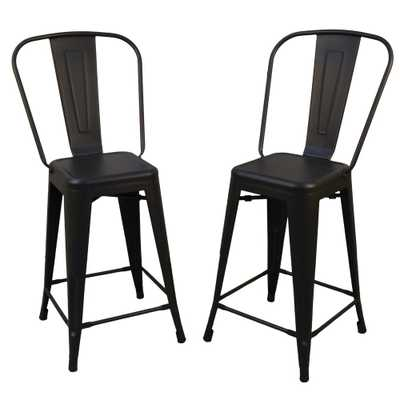 Adeline 24 in. Black Metal Counter Stool (Set of 2), 24 In Black - Home Depot