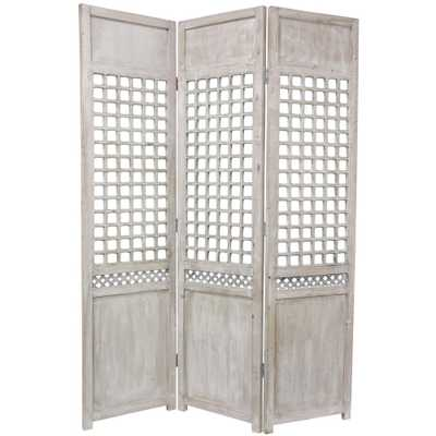 Oriental Unlimited 6 ft. Gray 3-Panel Open Lattice Room Divider - Home Depot