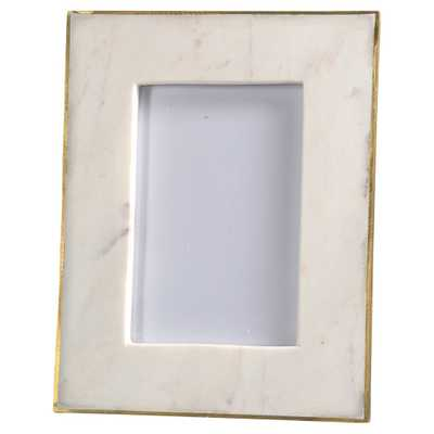 Estelle Modern Classic 6x4 photo Gold Edge White Marble Picture Frame - Small - Kathy Kuo Home