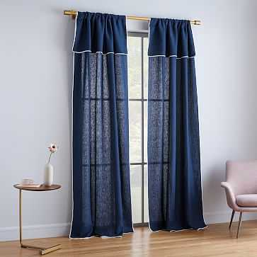 """Belgian Flax Linen Piped Border Curtain, Midnight/White, 48""""x84"""" - West Elm"""
