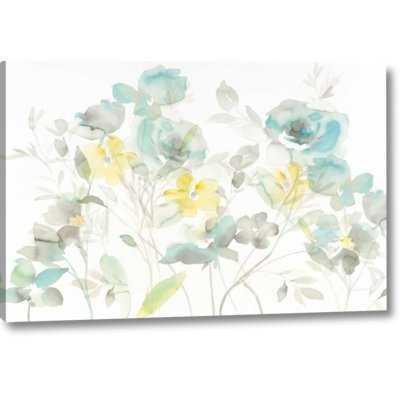 'Aqua Roses Shadows' Print on Wrapped Canvas - Wayfair