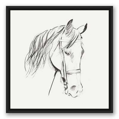 'Calm Horse Sketch' Framed Drawing Print on Canvas - Birch Lane