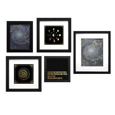 "Astrology Collage"" 5 Piece Framed Graphic Art Set - Wayfair"