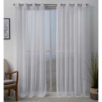 Exclusive Home Curtains Whitaker 54 in. W x 108 in. L Vertical Teardrop Slub Embellished Grommet Top Curtain Panel in White (2-Panel) - Home Depot
