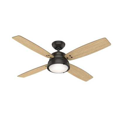 Hunter Wingate 52 in. LED Indoor Noble Bronze Ceiling Fan with Light Kit and Handheld Remote - Home Depot