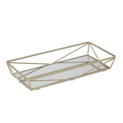 Home Details Geometric Design Mirror Vanity Tray in Gold, Satin Gold - Home Depot