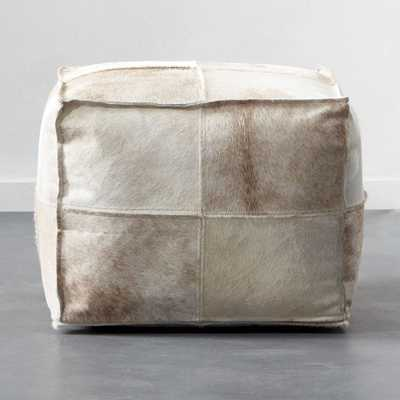 Abele Sand Hair on Hide Pouf - CB2