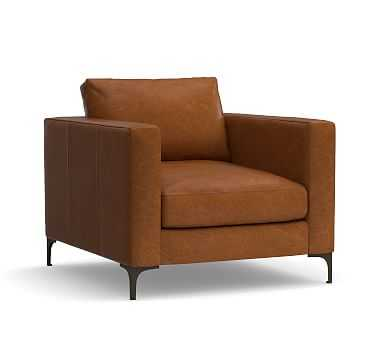 Jake Leather Armchair, Polyester Wrapped Cushions, Vintage Caramel - Pottery Barn