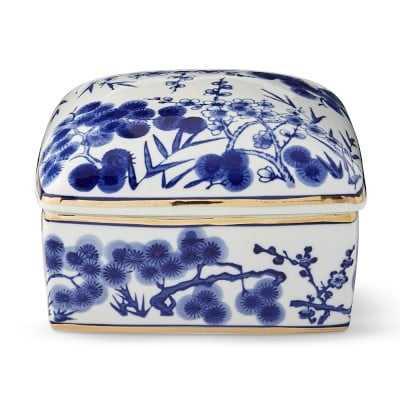 Chinoiserie Ceramic Jewelry Box, Bamboo Motif, Square, Blue and White - Williams Sonoma