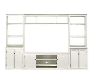 "Logan 6-Piece Entertainment Center With Cabinets, Open Hutch, 110"" Wide - Pottery Barn"
