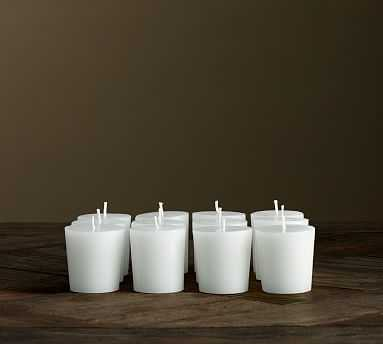Unscented Votive Candles, White - Set of 12 - Pottery Barn