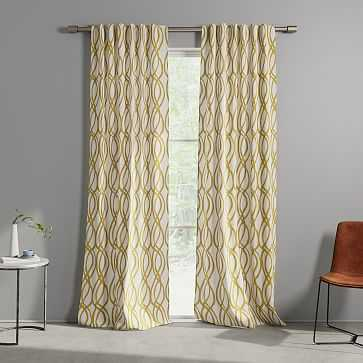 "Cotton Canvas Scribble Lattice Curtain, Set of 2, Dark Horseradish, 48""x84"" - West Elm"