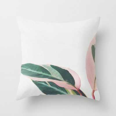 "Pink Leaves II Throw Pillow - Outdoor Cover (20"" x 20"") with pillow insert by Cassiabeck - Society6"