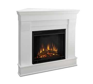 Real Flame(R) Chateau Corner Electric Fireplace, White - Pottery Barn
