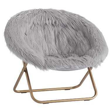 Gray Himalayan Faux-Fur Hang-A-Round Chair - Pottery Barn Teen