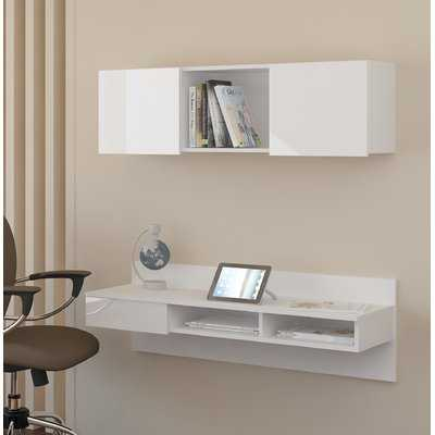 Brylee Wall-Mounted Floating Desk with Hutch - Wayfair