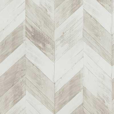 "Wood Weathered Herringbone 33' x 20.8"" Wallpaper Roll - AllModern"