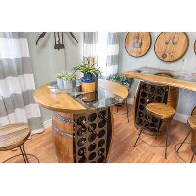 Mario Live Edge and Glass Top Wine Barrel Bar Set - Wayfair