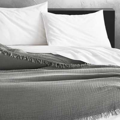 Gauze Grey Lightweight Blanket Full/Queen - CB2