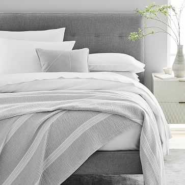 Variegated Running Stripe Blanket, Full/Queen, Frost Gray - West Elm