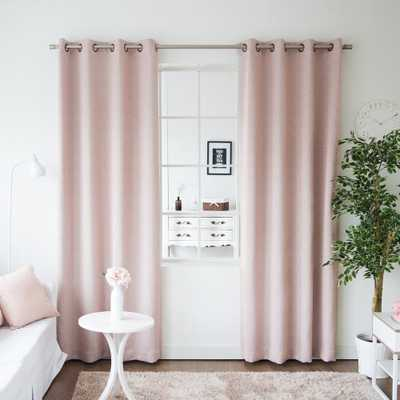 Best Home Fashion 96 in. L Pink Linen Print Room Darkening Curtain Panel (2-Pack) - Home Depot