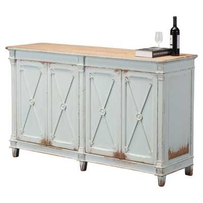 Talia Rustic French Antique Soft Blue Pine Wood Buffet Sideboard - Kathy Kuo Home