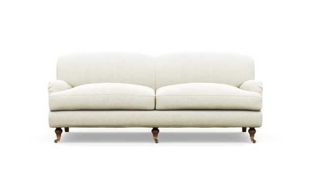 Rose by The Everygirl Sofa with Vanilla Fabric and Oiled Walnut with Brass Caster legs - Interior Define