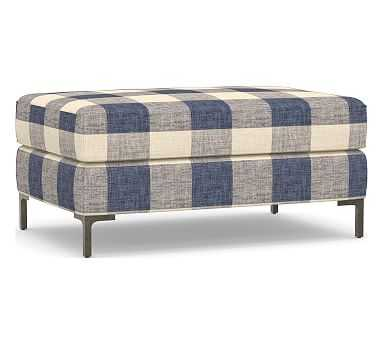 Jake Upholstered Ottoman with Bronze Legs, Polyester Wrapped Cushions, Vintage Grainsack Buffalo Blue/Flax - Pottery Barn